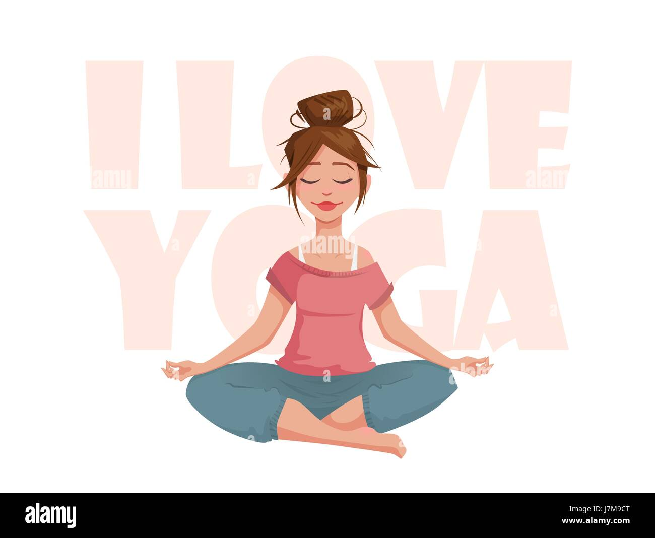 The girl in the lotus pose meditates. - Stock Image