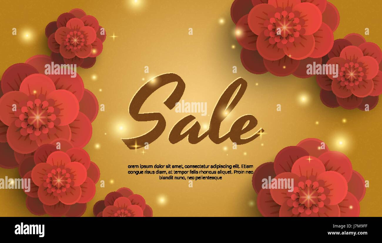 Sale Gold Background With Red Paper Flowers Stock Vector Art