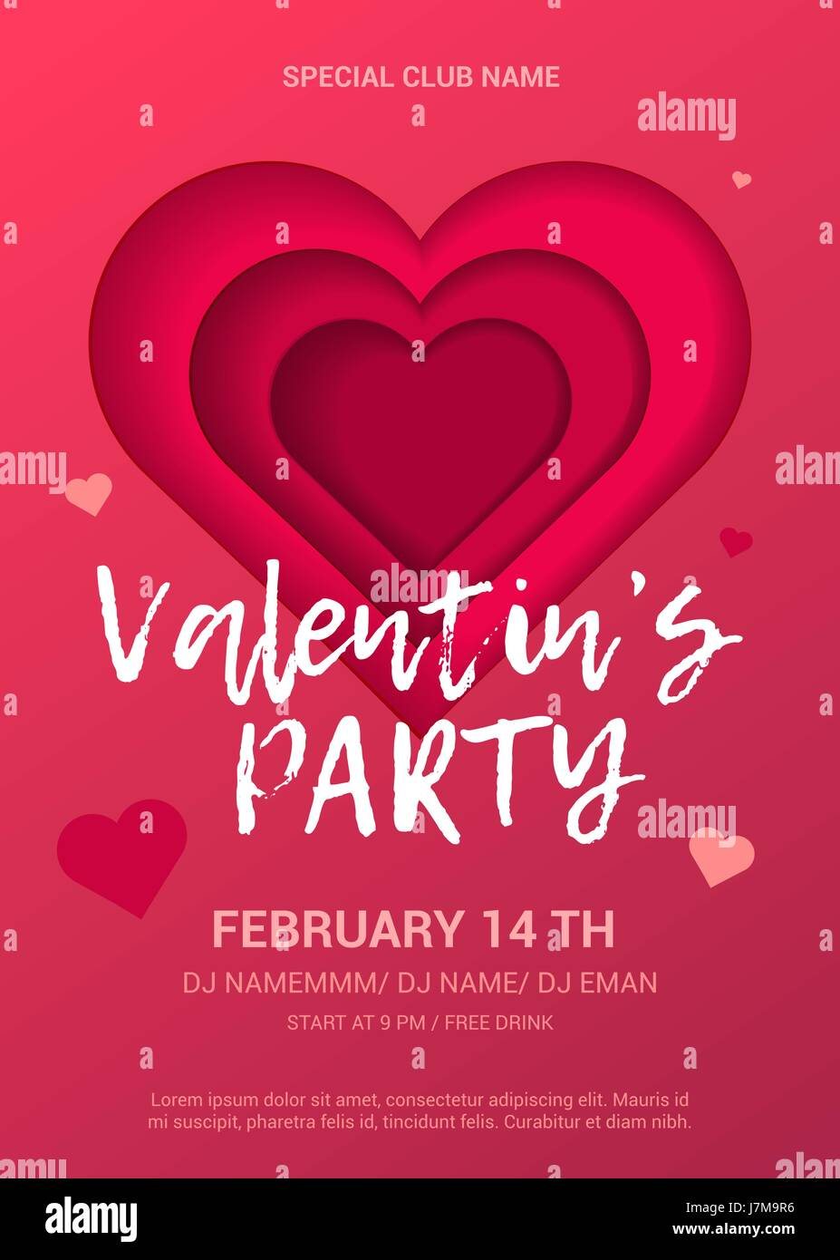 Valentine S Day Party Flyer Stock Vector Art Illustration Vector