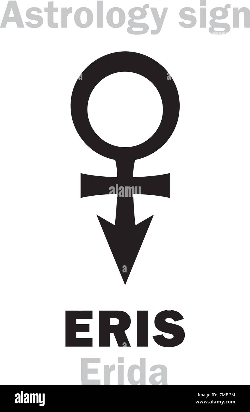 Astrology Alphabet: ERIS (Erida), most massive and second-largest superdistant dwarf planet. Hieroglyphics character - Stock Vector