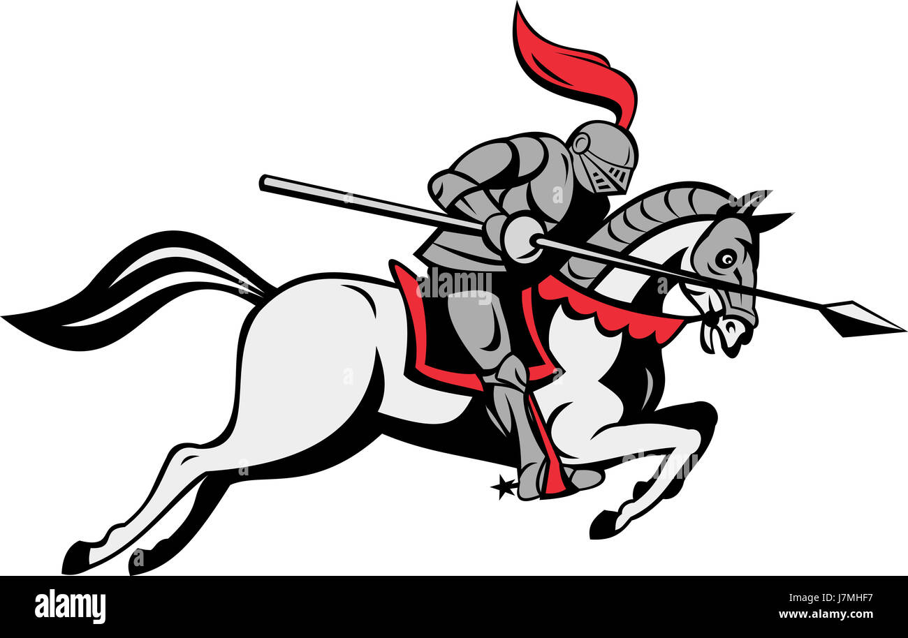 Horse Riding Rider Equestrian Medieval Lance Knight Horse Stock Photo Alamy