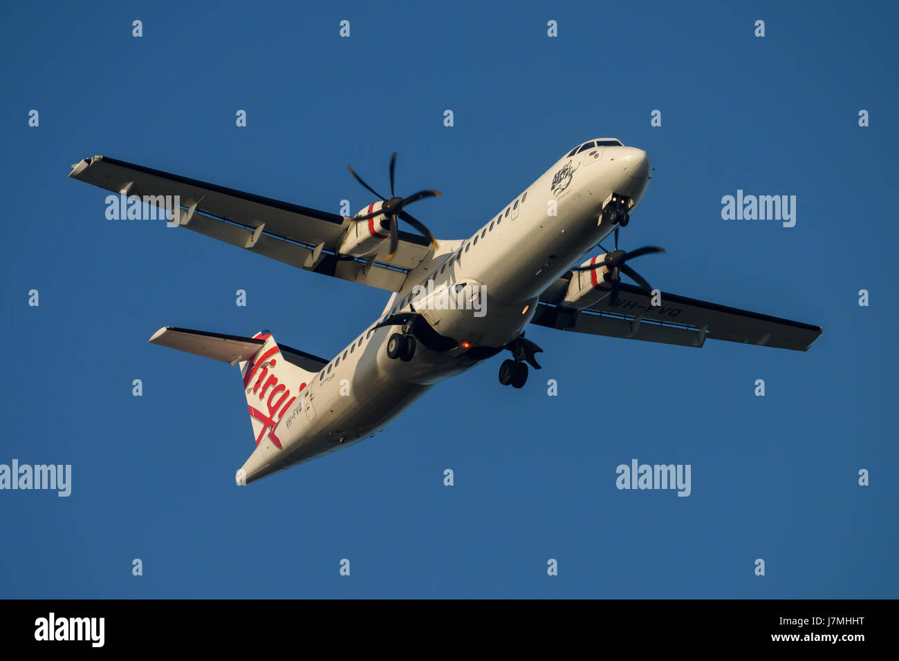 Virgin Australia ATR 72 on Final approach to Sydney Airport on Tuesday 23 May 2017 - Stock Image