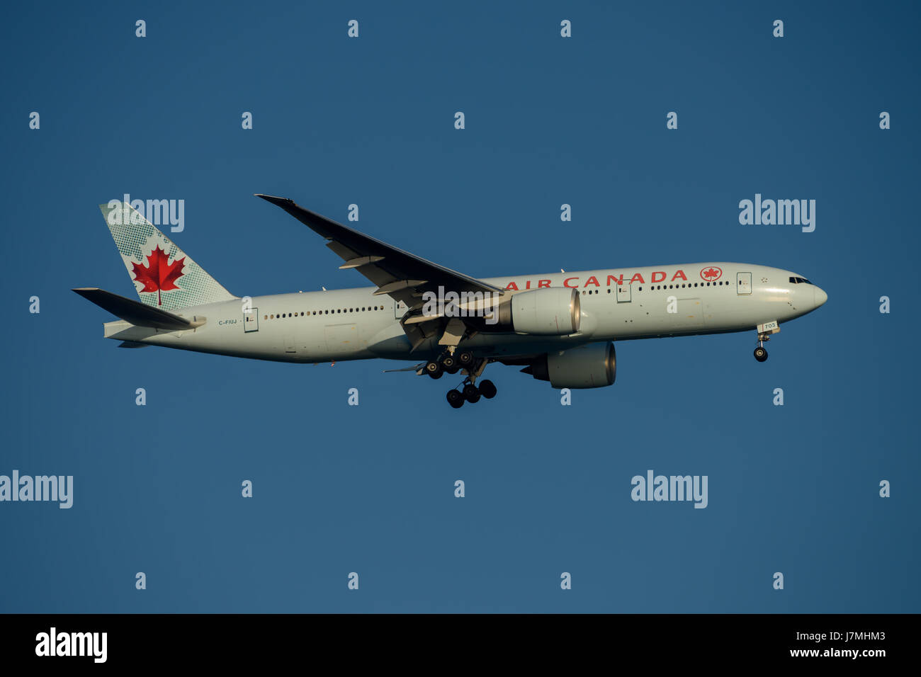 Air Canada Airlines Boeing 777 on Final approach to Sydney Airport on Tuesday 23 May 2017 - Stock Image