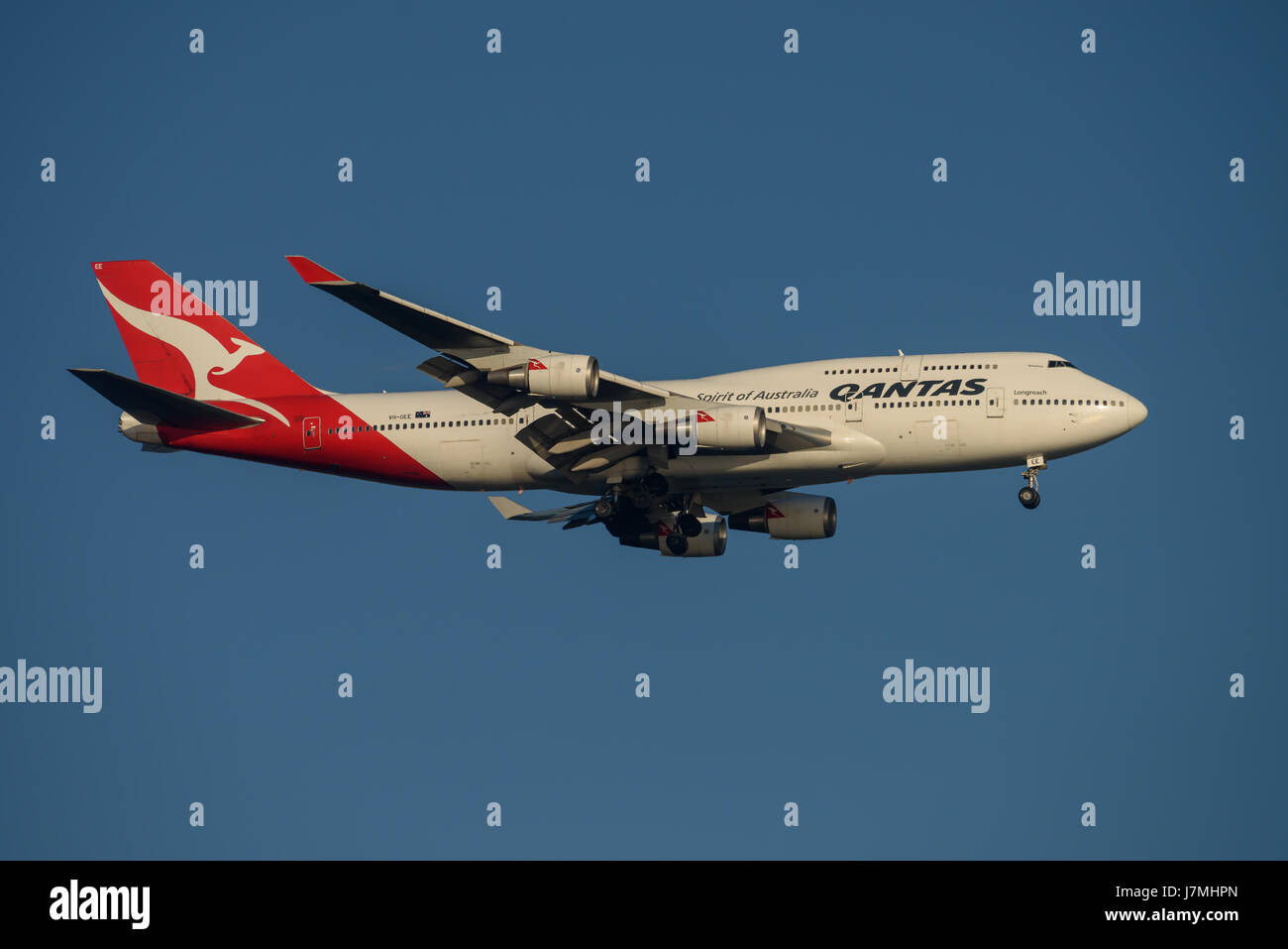 Qantas Airlines Boeing 747 on Final approach to Sydney Airport on Tuesday 23 May 2017 - Stock Image