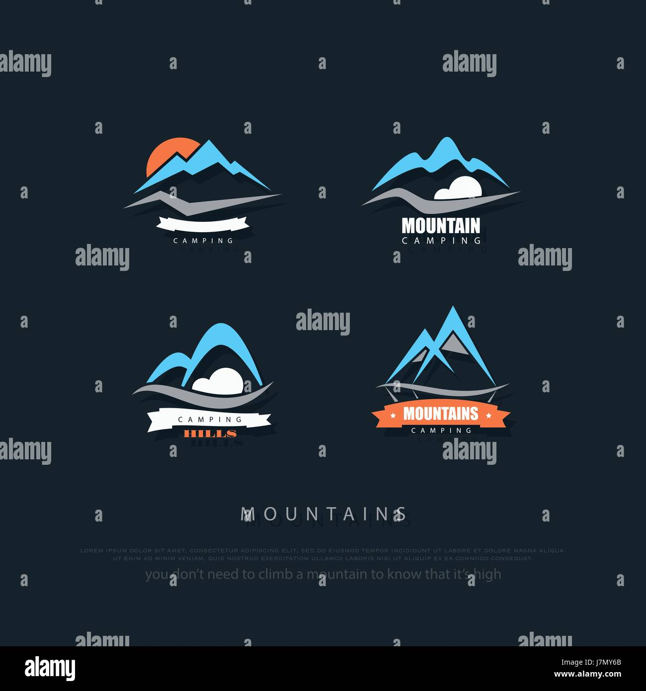 set of high mountains vector icons. travel and rock climbing concept logo. Alps landscape sign. mountain valley - Stock Image