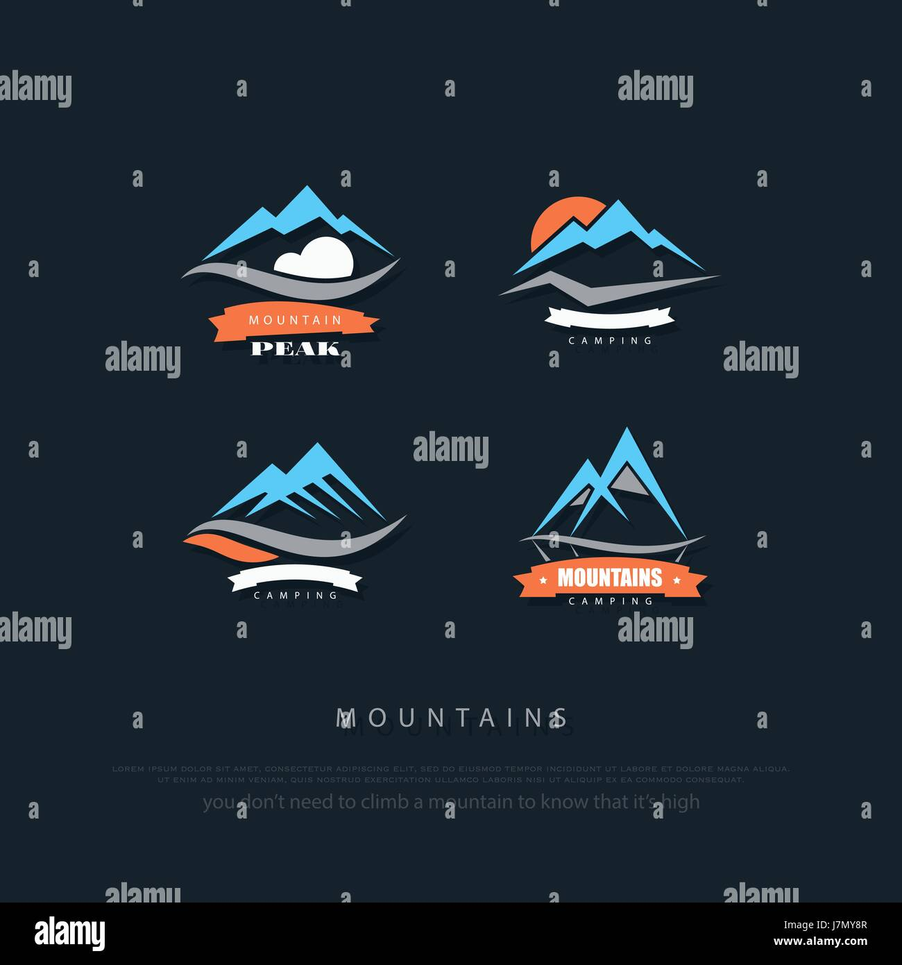 set of high mountains vector icons. travel and rock climbing concept logo. Everest trekking sign. mountain valley - Stock Image