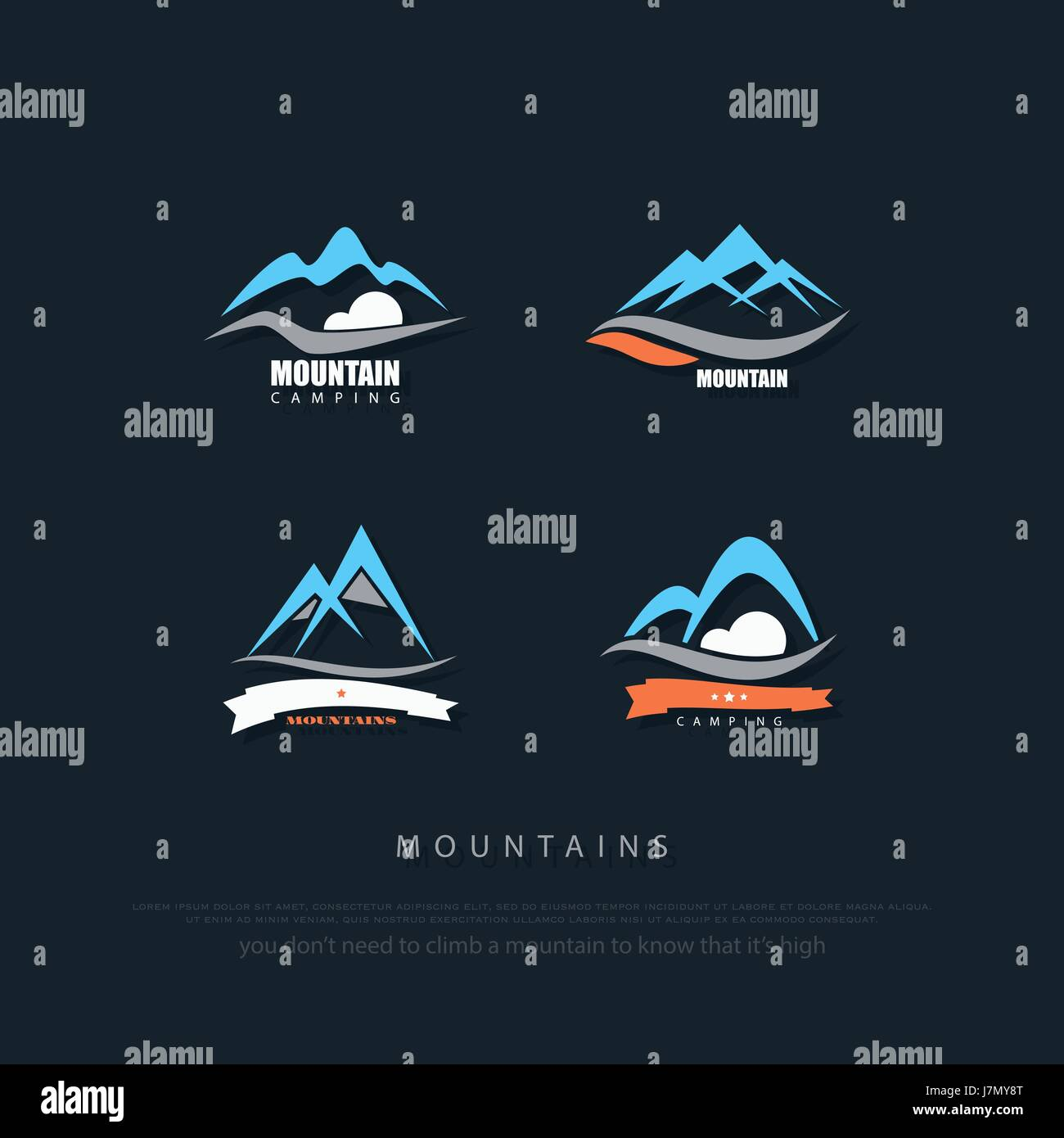 set of high mountains vector icons. travel and rock climbing concept logo. Alps trekking sign. hills valley logotype. - Stock Image