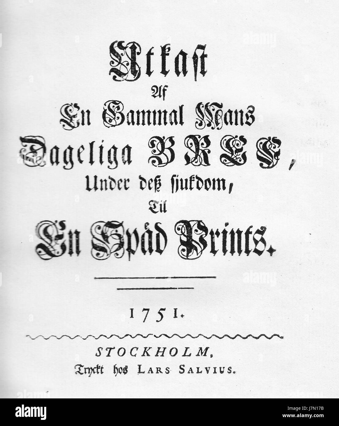 CG Tessin 1751 En gammal mans bref - Stock Image
