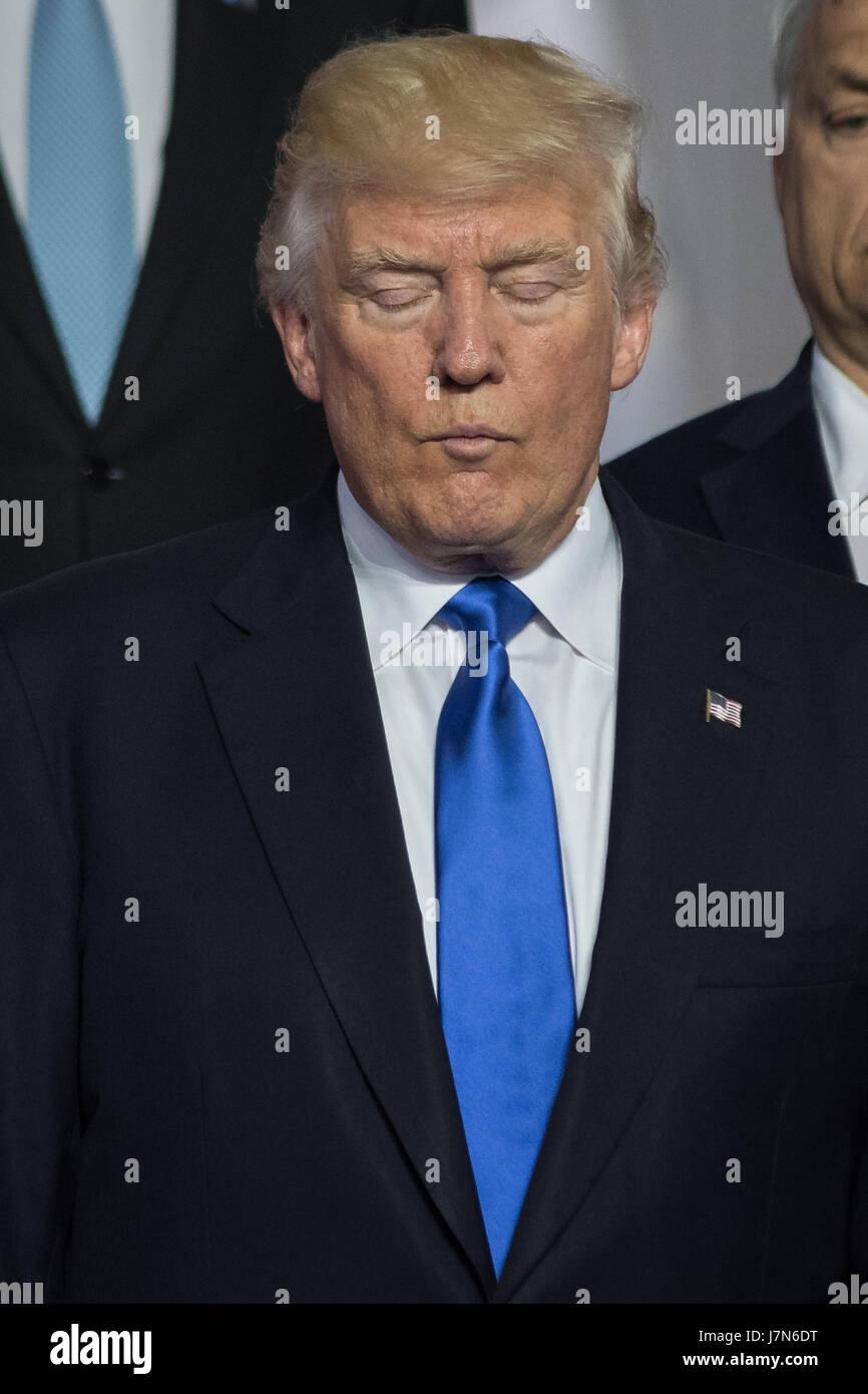 Brussels, Belgium. 25th May, 2017.   Donald Trump at the NATO Summit in Brussels, Belgium. Credit: LE PICTORIUM/Alamy - Stock Image