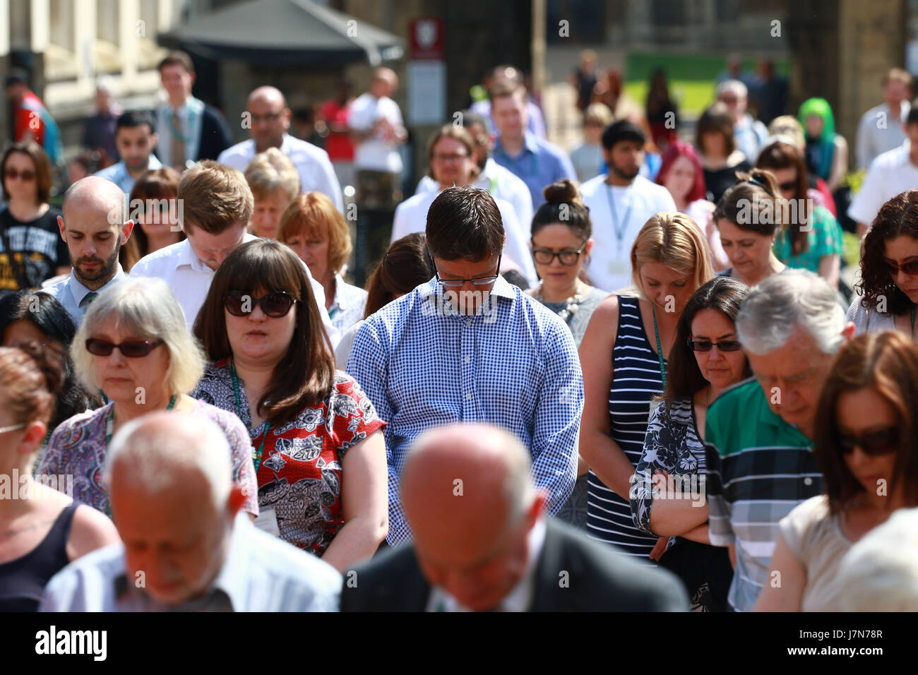 Peterborough, UK. 25th May, 2017. Minutes silence for Manchester bombing victims. A minutes silence is observed - Stock Image