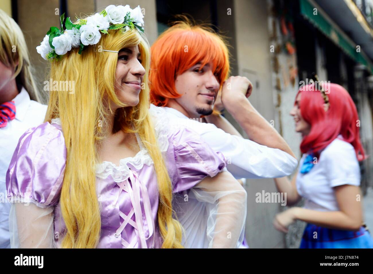 Madrid, Spain. 25th May 2017. Cosplayers wear costumes and fashion accessories to represent a character. May 25 - Stock Image