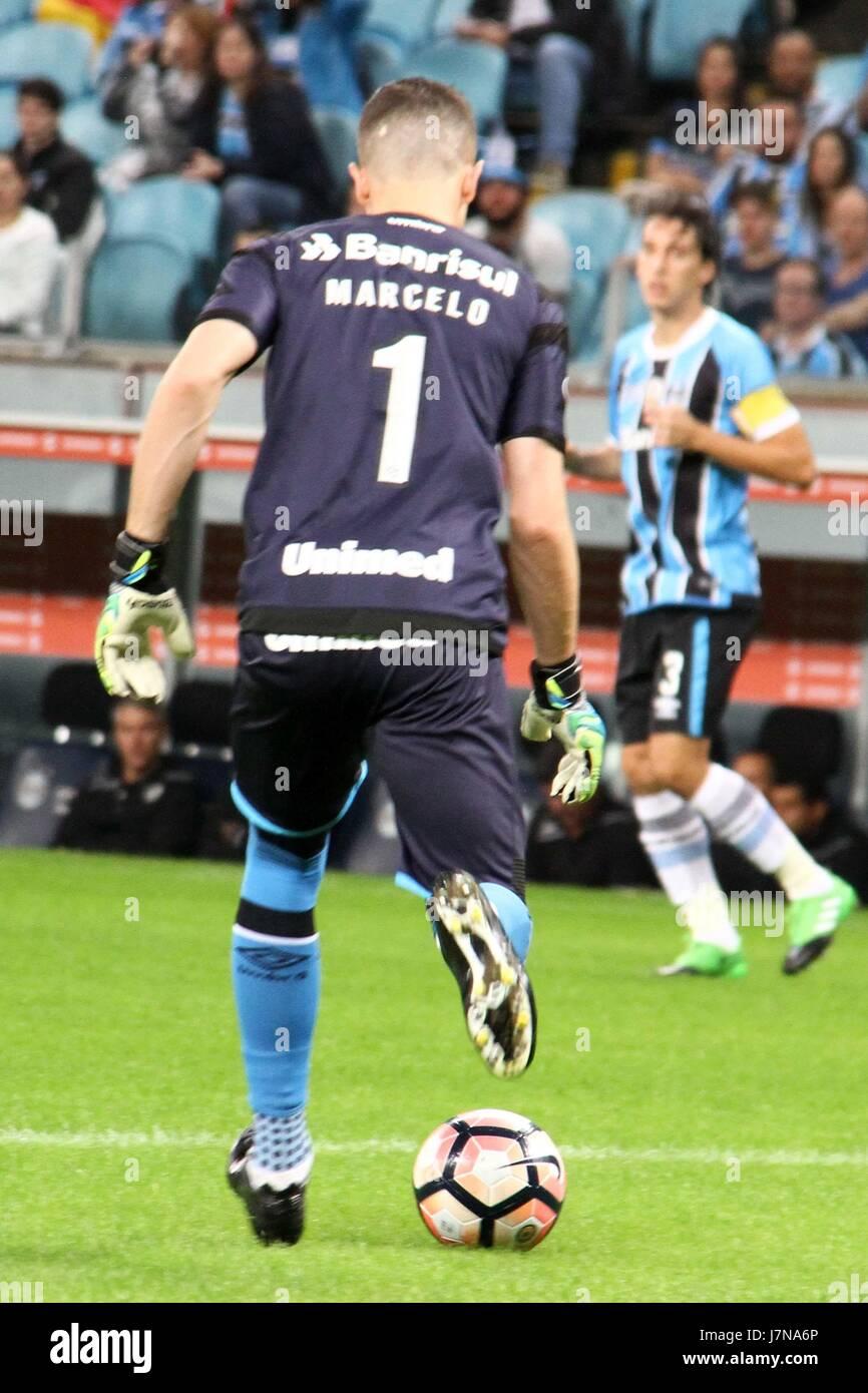 Porto Alegre, Brazil. 25th May, 2017. Goalkeeper Marcelo Grohe in the match between Grêmio (BRA) and Zamora (VEN), Stock Photo
