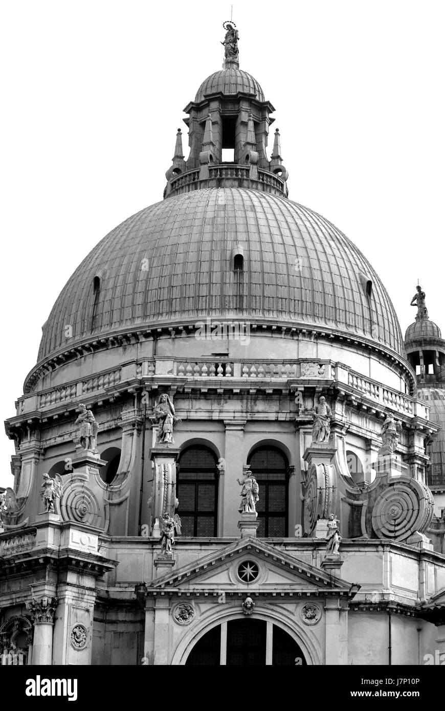 tower religion church stone cathedral dome baroque sculpture chapel venice - Stock Image