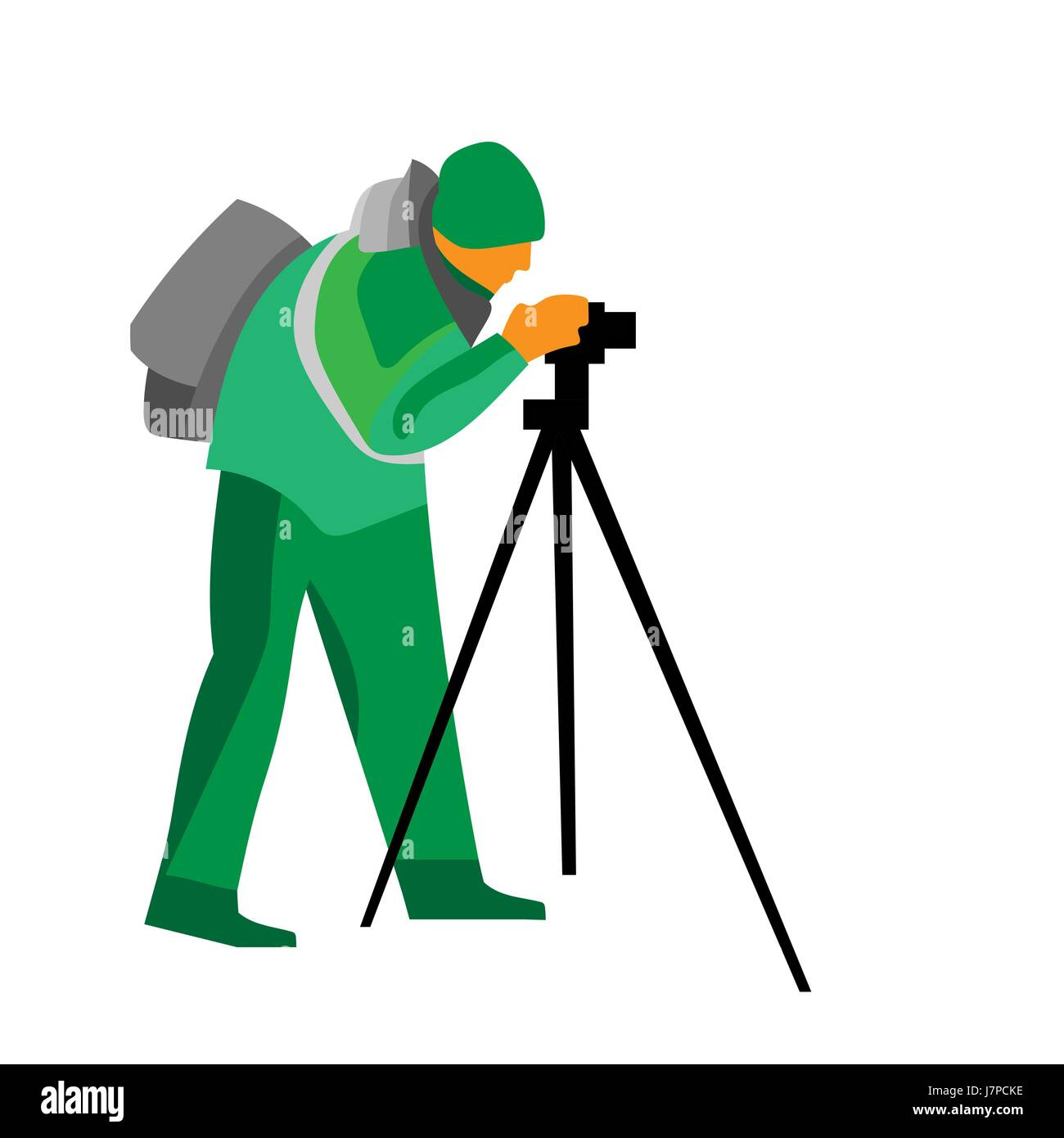 vector painting of photographer shooting something - Stock Vector