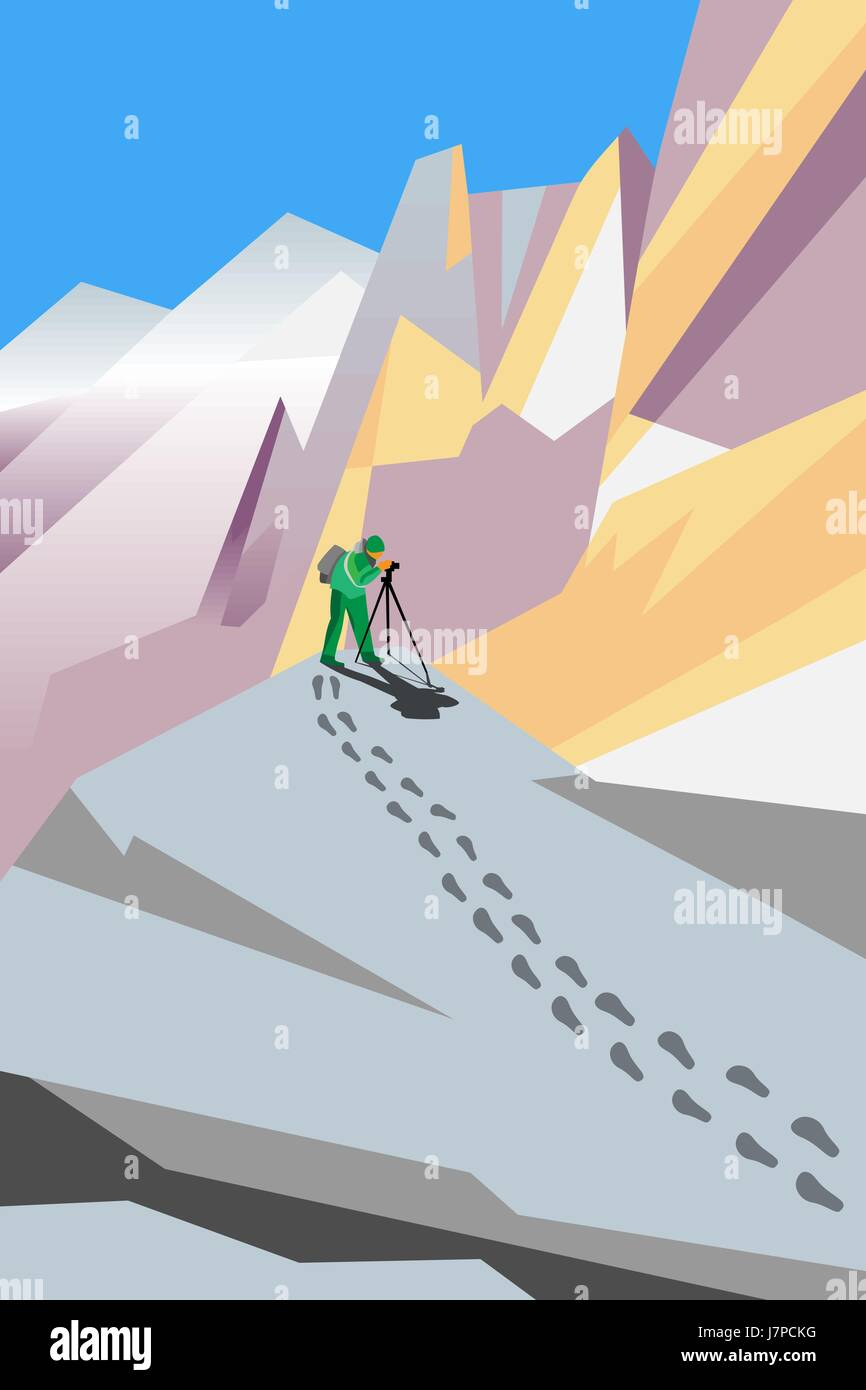 vector painting of photographer shooting something in mountains - Stock Vector