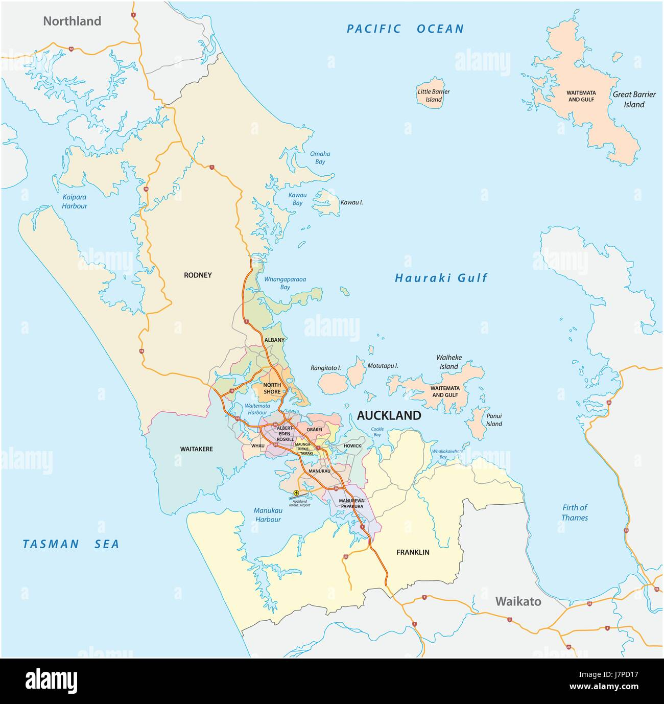 Administrative and political map of the New Zealand city Auckland ...