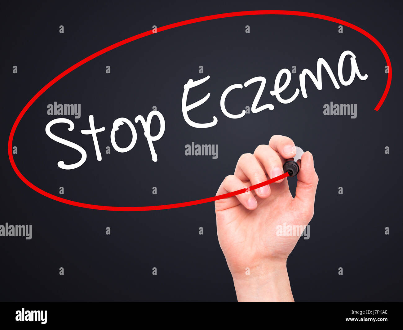 Man Hand writing Stop Eczema with black marker on visual screen. Isolated on black. Business, technology, internet Stock Photo