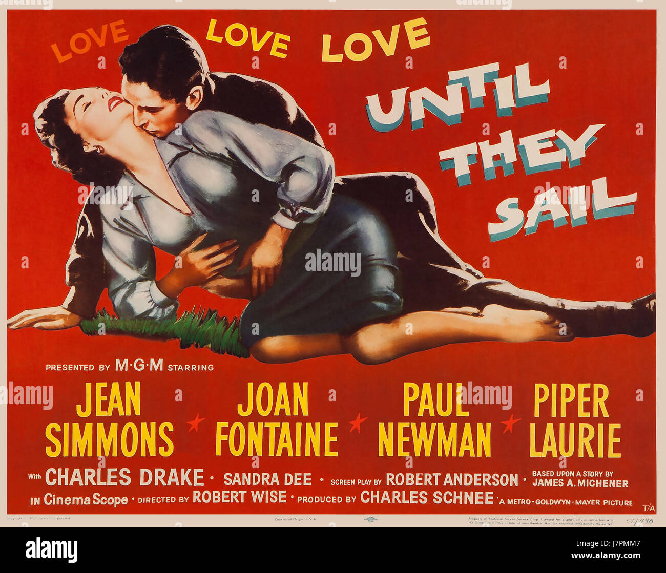 UNTIL THEY SAIL 1957 b/w MGM film with Jean Simmons and Paul Newman - Stock Image