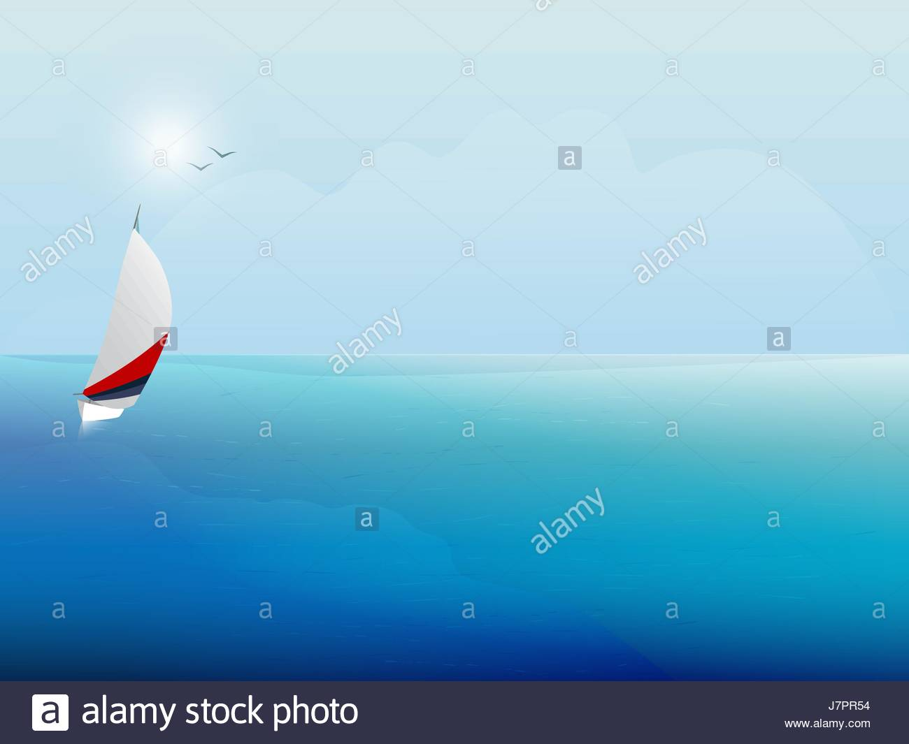 Sailing boat on the blue sea. Yacht and ocean. Background. - Stock Vector