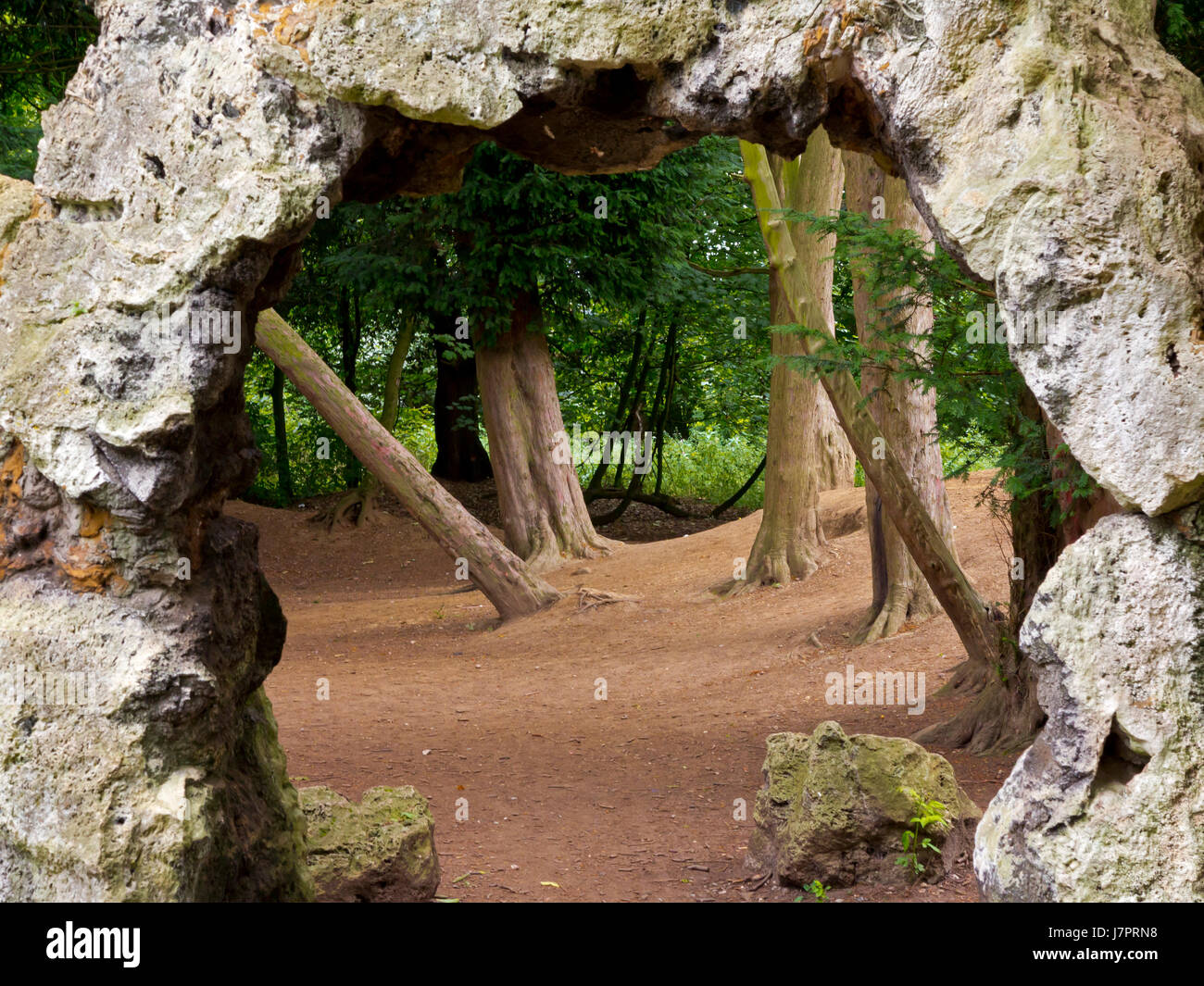 Rock grottoes in the grounds of Elvaston Castle Country Park near Derby England UK - Stock Image