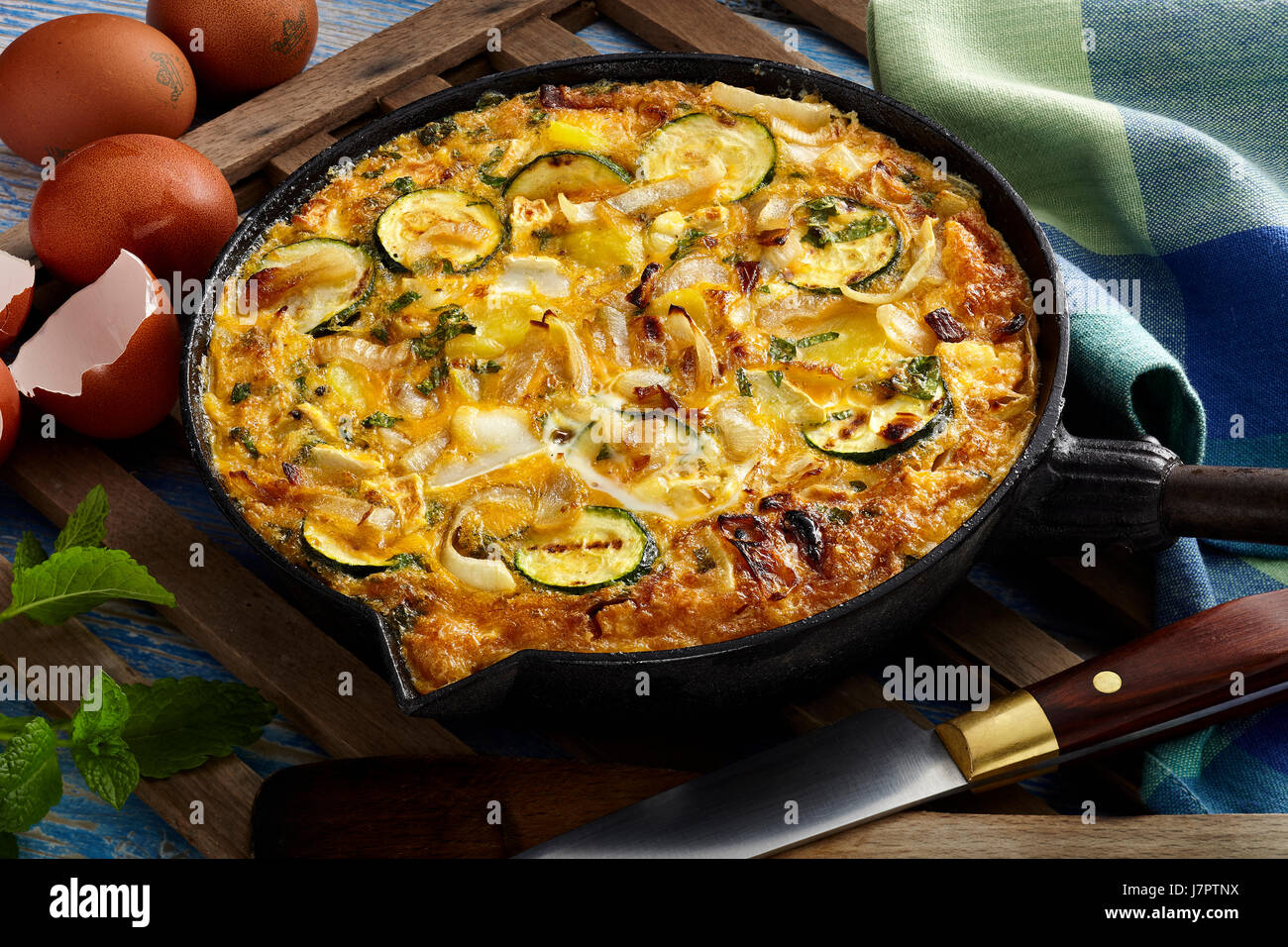 Courgette mint frittata - Stock Image