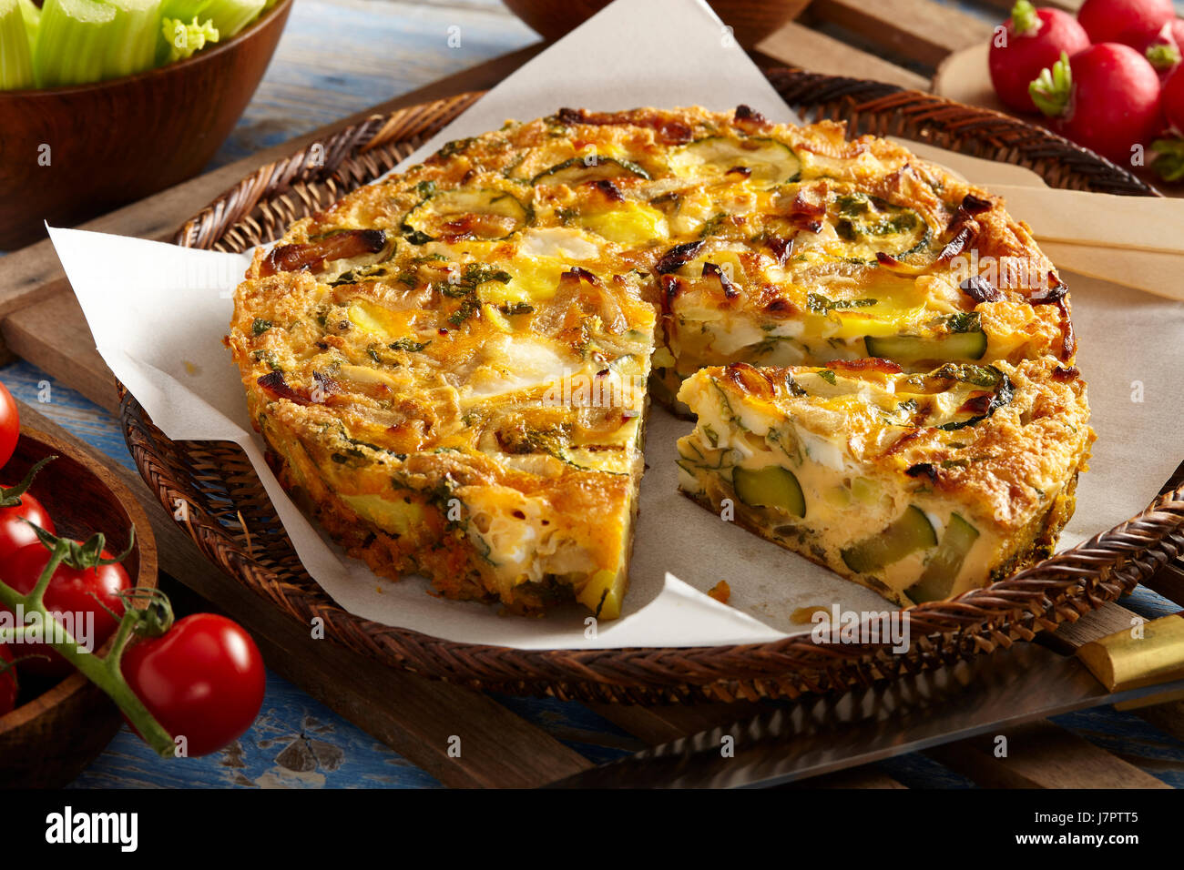 slow cooked courgette mint frittata - Stock Image