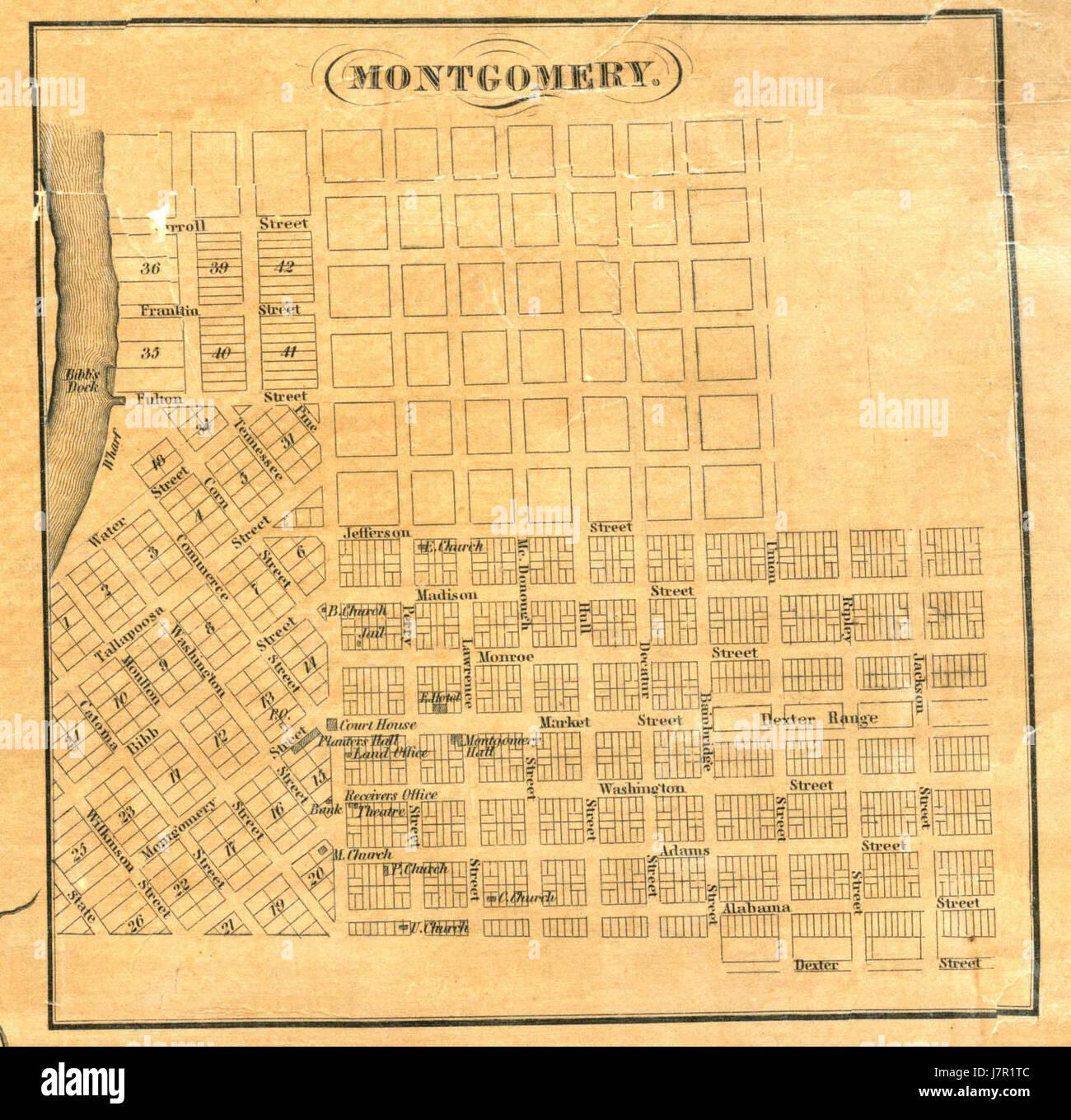 1837 Map of Montgomery, Alabama Stock Photo: 142491900 - Alamy