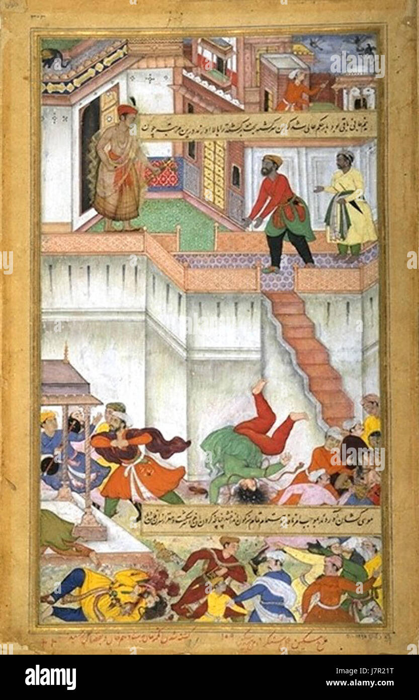 Akbar orders punishment of Adham Khan, Akbarnama - Stock Image
