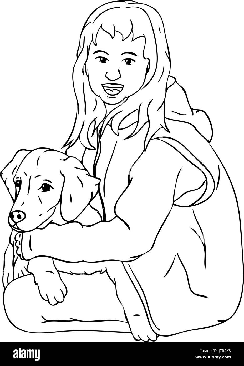 Isolated Colour Dog Illustration Paint Draw Cartoon Girl Girls Woman Stock Photo Alamy