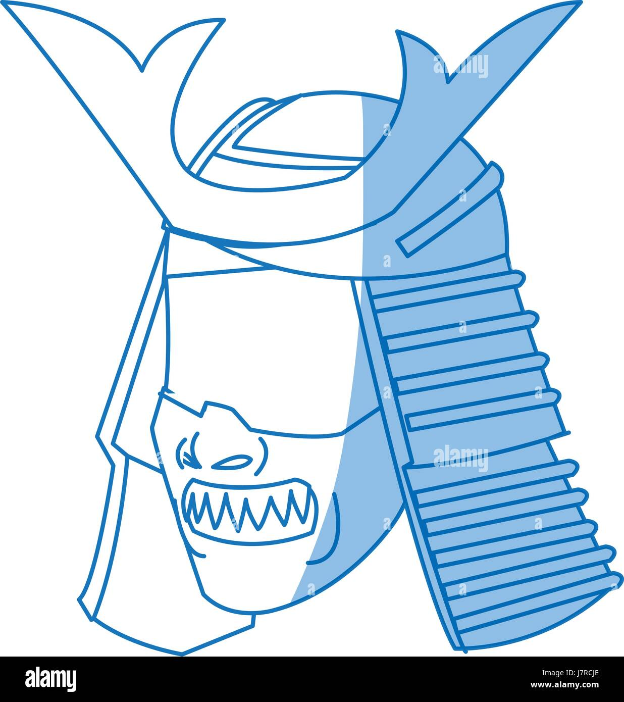 fearsome samurai mask culture japanese - Stock Image