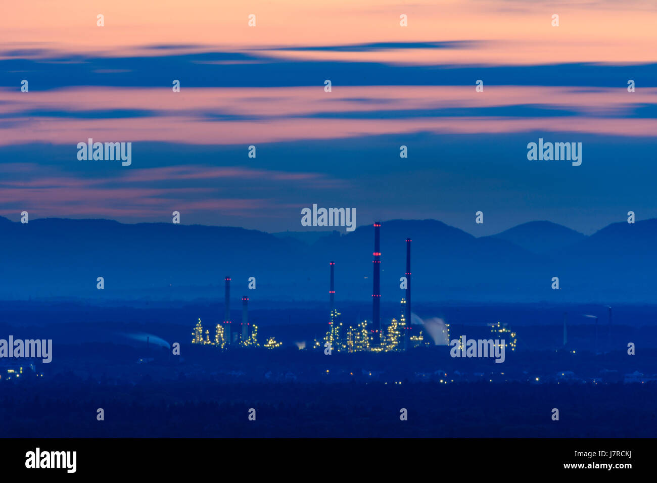 petroleum refinery MiRO Mineraloelraffinerie Oberrhein and Vosges (Vogesen) Mountains, Karlsruhe, Kraichgau-Stromberg, Stock Photo