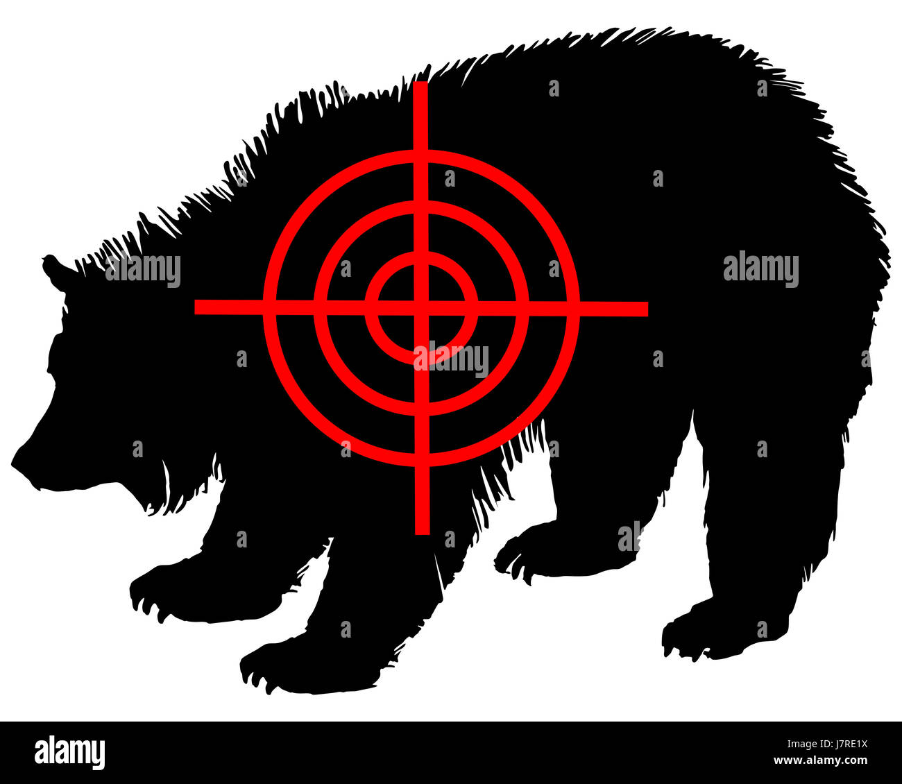 sign signal animal mammal bear black swarthy jetblack deep black illustration Stock Photo
