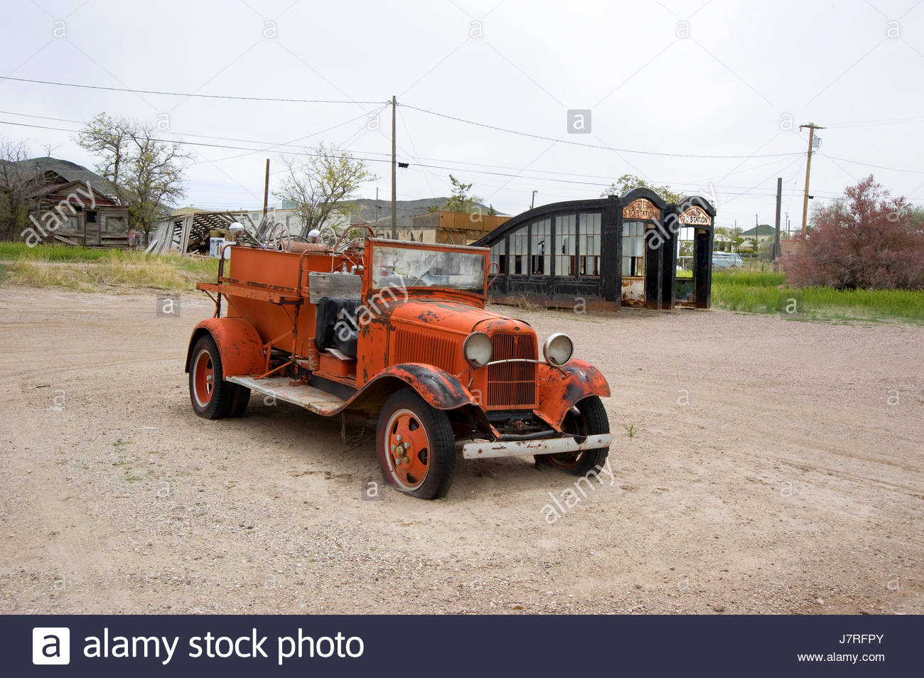 Antique fire engine in Goldfield, Nevada Stock Photo