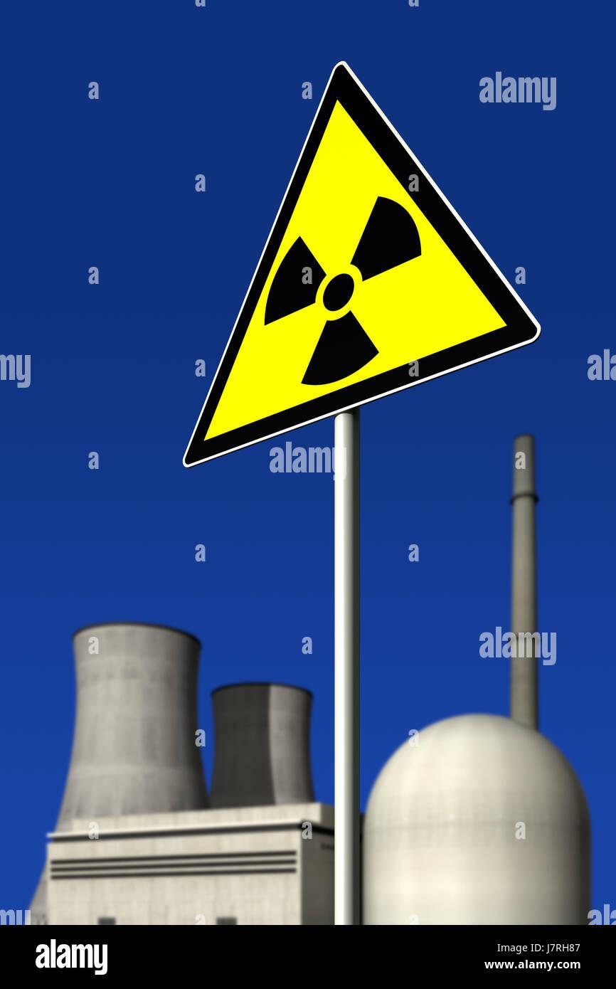 radiation deterring pictogram symbol pictograph trade symbol sign signal blue Stock Photo