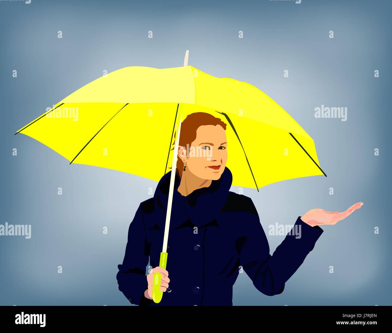 woman day during the day a in possession holding rainy humans human beings - Stock Image