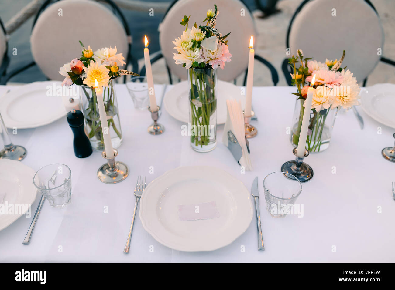 Plates at the wedding banquet table setting wedding decorations plates at the wedding banquet table setting wedding decorations wedding at the sea in montenegro junglespirit Images