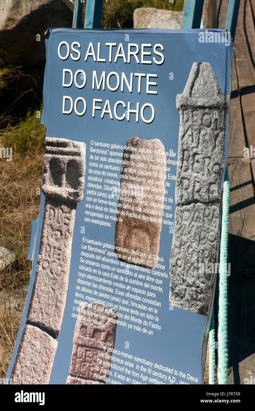 The Galician-Roman sanctuary in the 'Monte do Facho' - 3th century- poster, Donon, Pontevedra province, - Stock Image