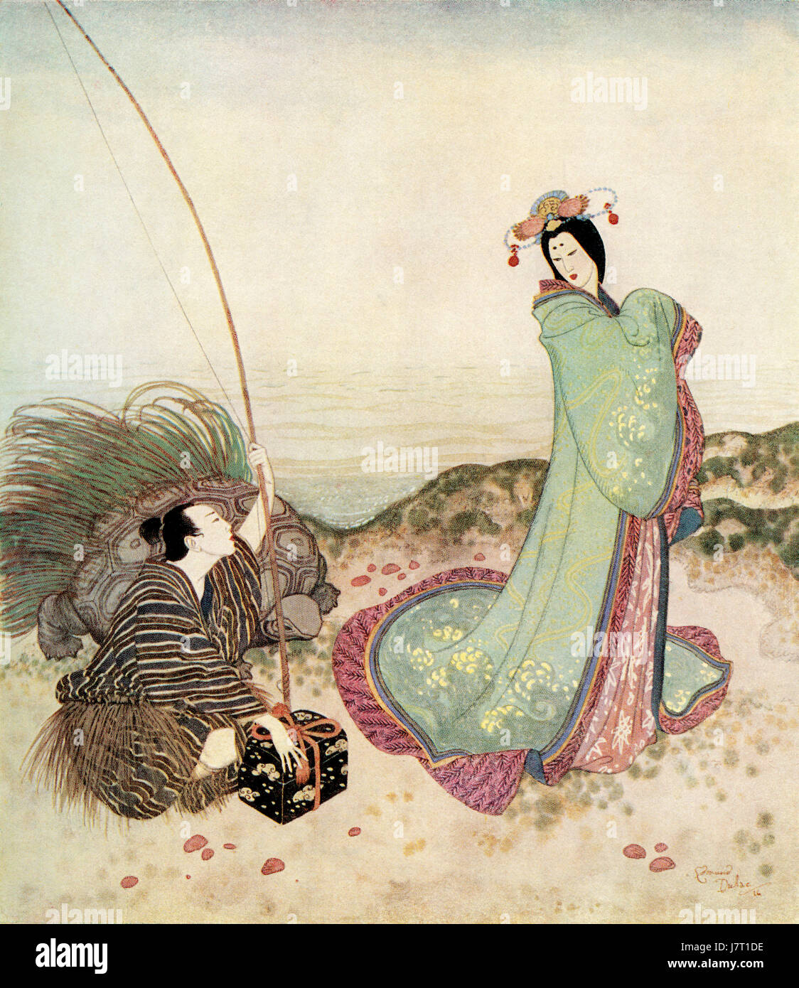 ' Urashima was so enchanted that he could not speak a word'.   Illustration from the Japanese fairytale - Stock Image
