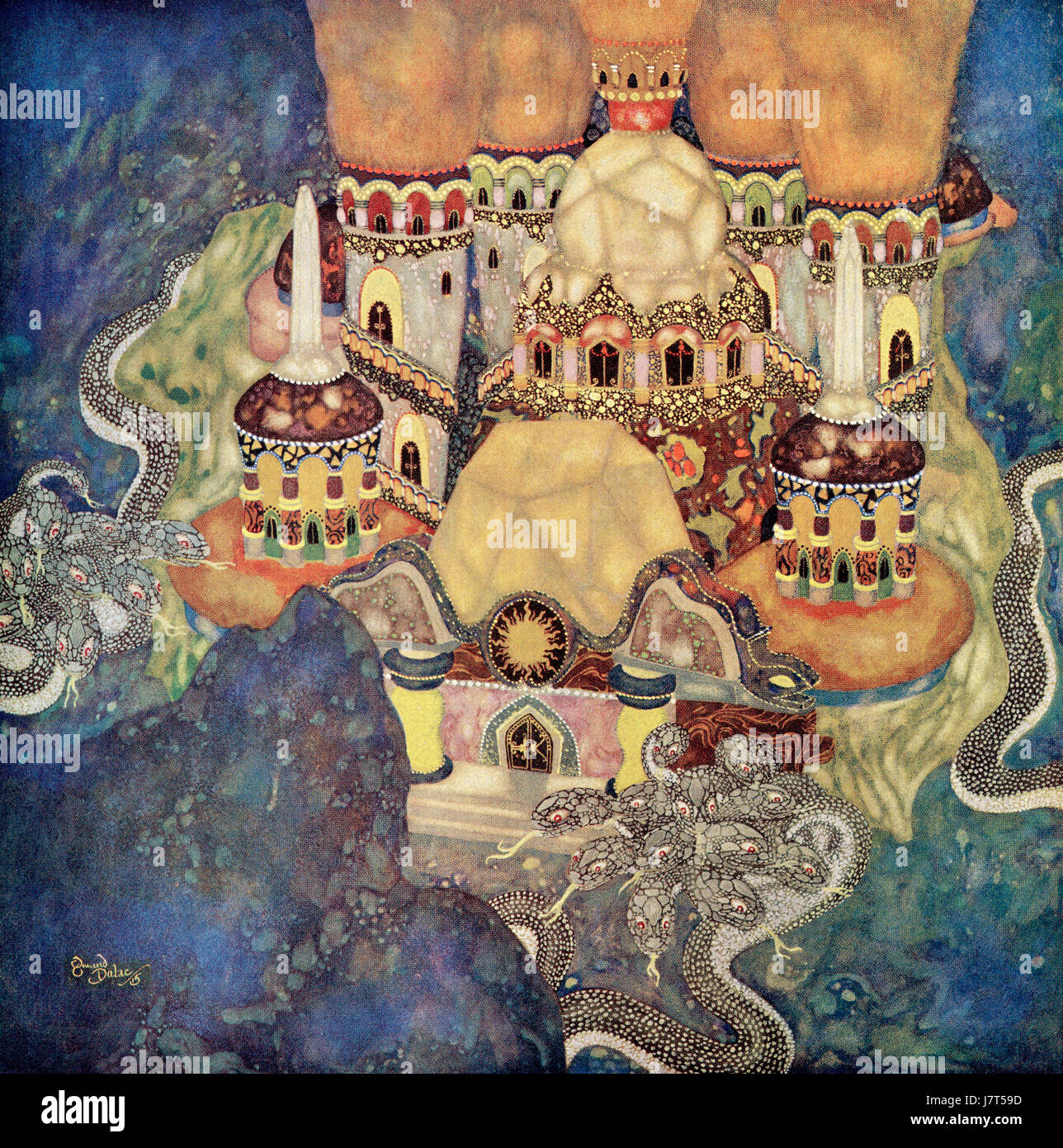 ' The Palace of the Dragon King'.  Illustration from the Serbian fairytale The Story of Bashtchelik.  From - Stock Image