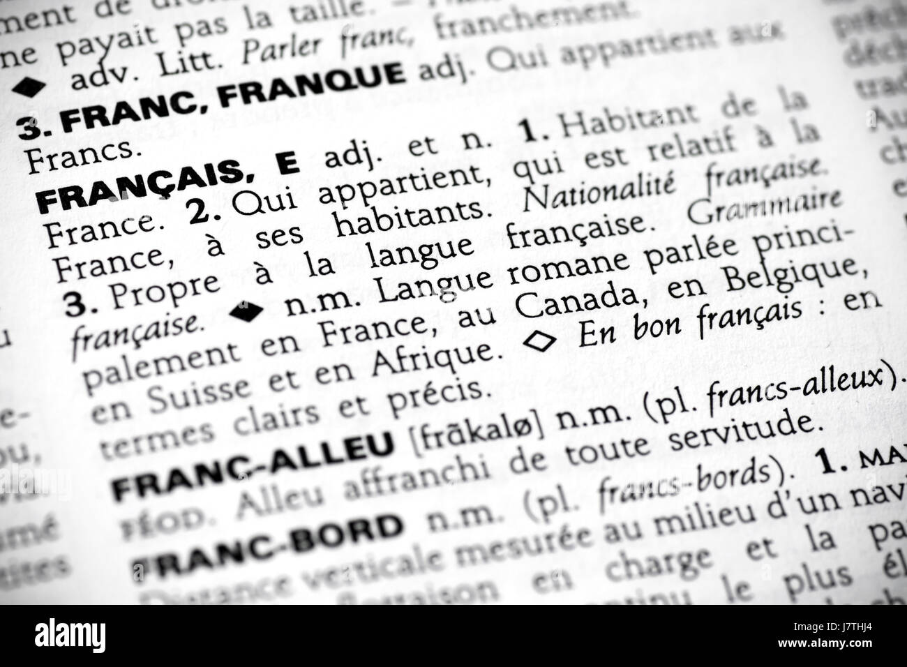 Word Language French Dictionary Reference Definition Page Sheet Close Stock Photo: 142526220