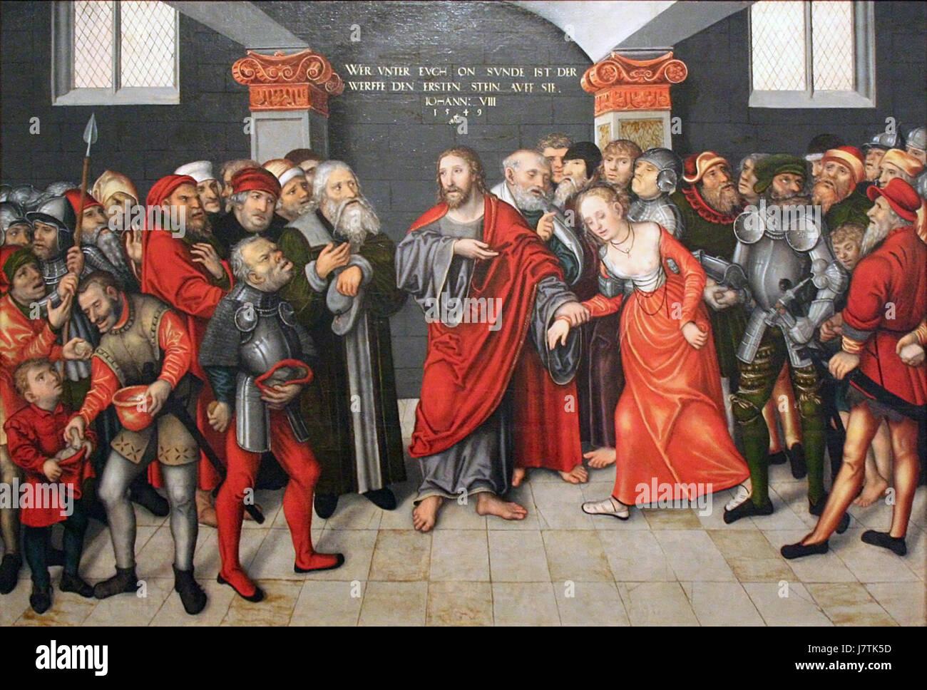 Lucas Cranach d. J.   Christus en de overspelige vrouw - Stock Image