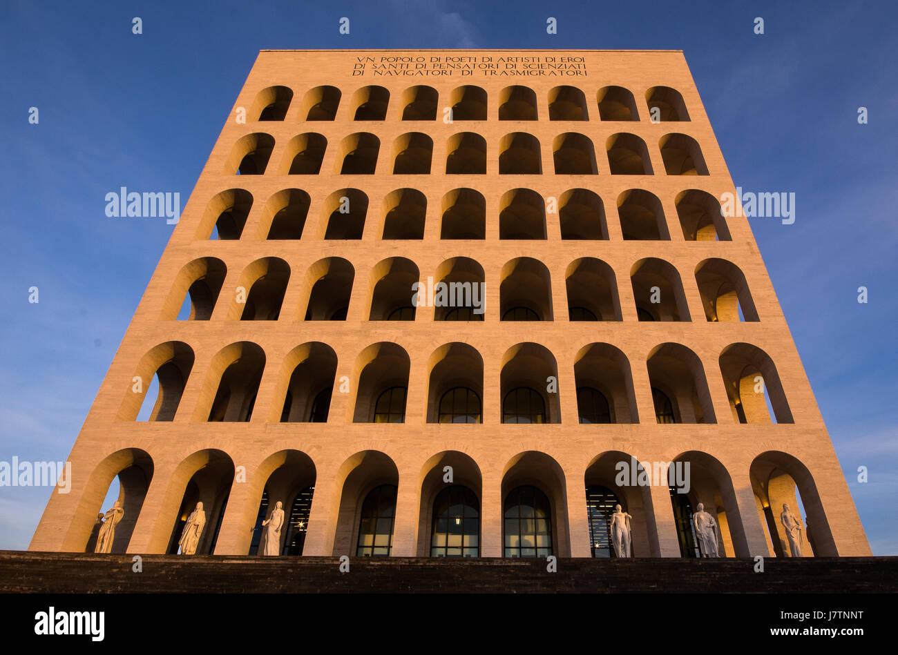 A shot of Palazzo della Civiltà Romana, also called 'Colosseo Quadrato' - Stock Image