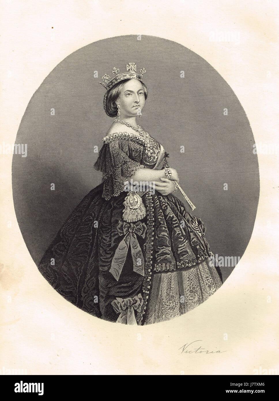 Portrait of Queen Victoria & signature - Stock Image