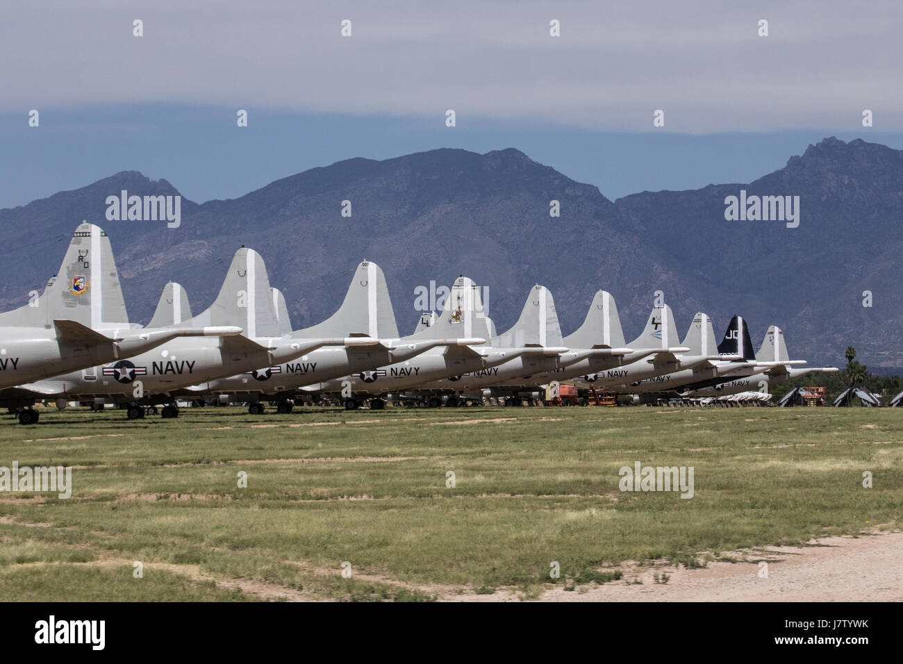 avy jets lilned up at the boneyard in New Mexico - Stock Image