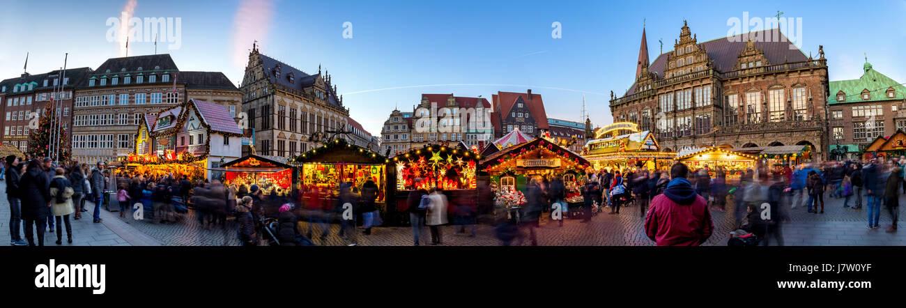 Marktplatz Panorama Weihnachtsmarkt - Stock Image