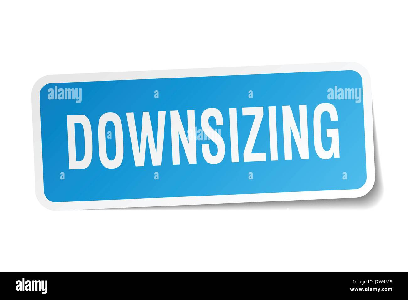 downsizing square sticker on white - Stock Vector