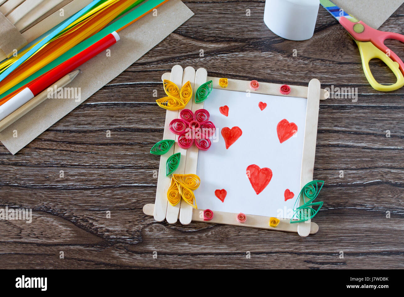 Childrens Gift From Wooden Sticks Photo Frame Birthday Greeting Card On The Desk Handmade Project Of Creativity Handicrafts Crafts Fo