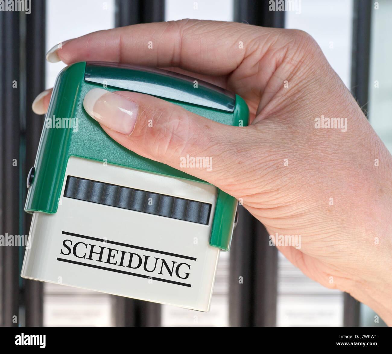 divorce - stempel mit hand Stock Photo