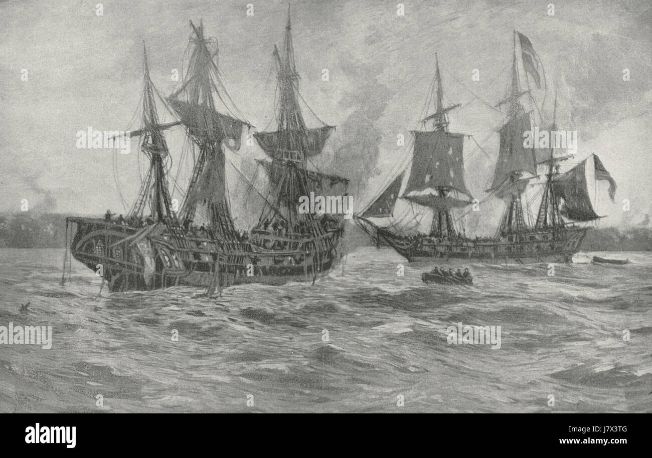 Battle of the Ranger and the Drake, April 23, 1778, during the American Revolution - Stock Image