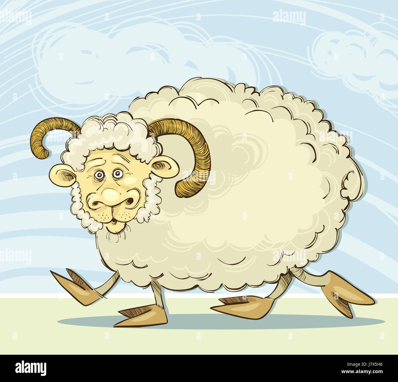 sheep illustration ram farm zodiac cartoon comics walk go going walking art Stock Photo